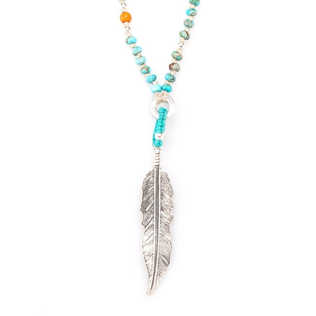 Large Feather Turquoise Necklace-0