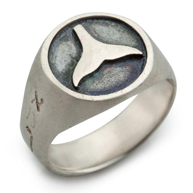 טבעת חותם עם סנפיר-0