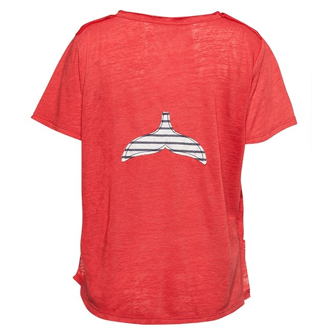 Women Stripes Whale Tail T-shirt-0