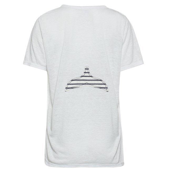 Women Stripes Whale Tail T-shirt-0
