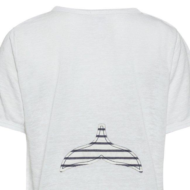 Women Stripes Whale Tail T-shirt-2454
