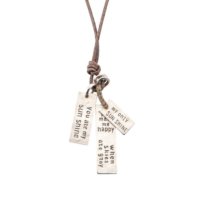 You Are My Sunshine Leather Necklace-0