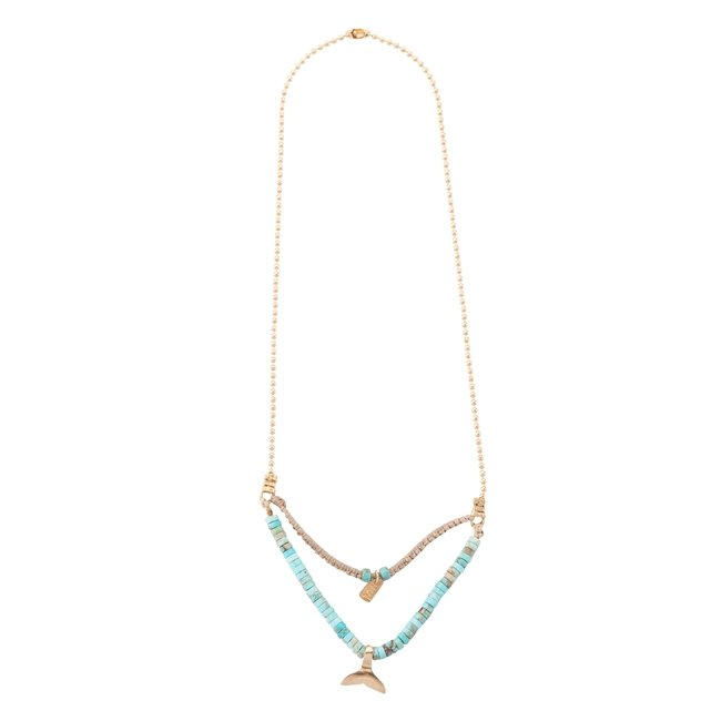 Mini Whale Tail Turquoise Necklace-2354