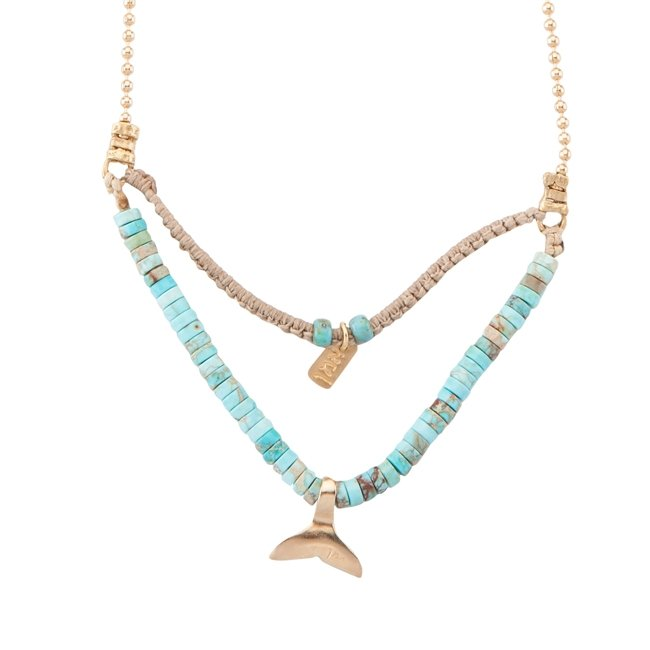 Mini Whale Tail Turquoise Necklace-0