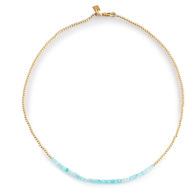 Turquoise Gems and Gold Necklace-2752