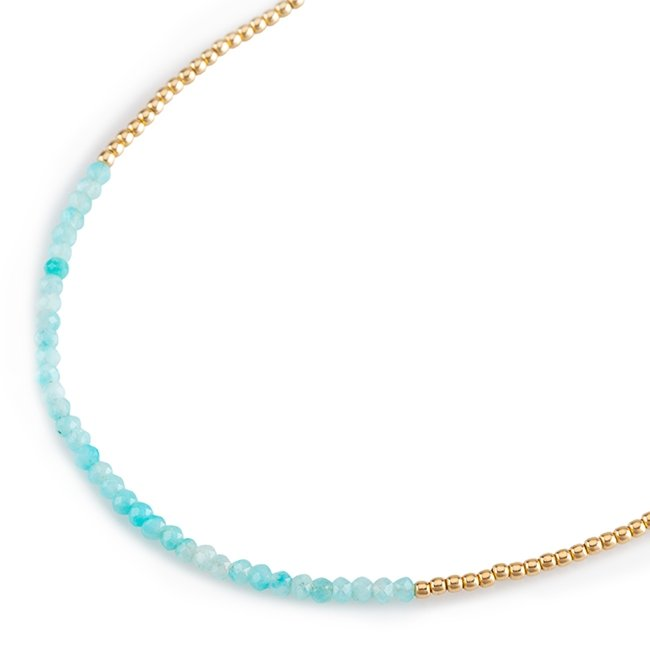Turquoise Gems and Gold Necklace-0