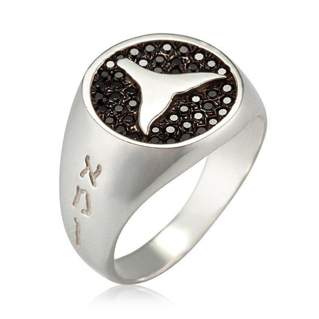טבעת חותם עם זרקונים שחורים-0