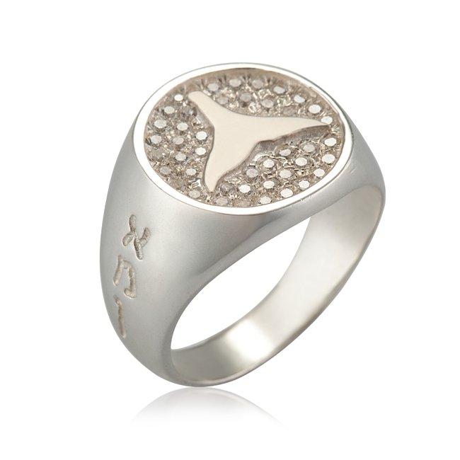 טבעת חותם עם זרקונים לבנים-0
