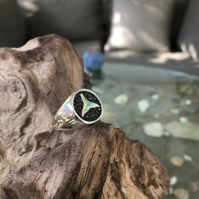 טבעת חותם עם זרקונים שחורים-3593