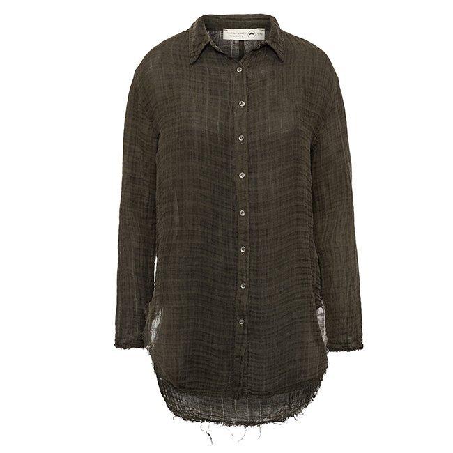 Women's Muslin Button-Down Shirts-3831