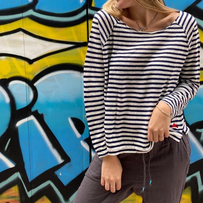 חולצת פשתן ארוכה פסים-5929