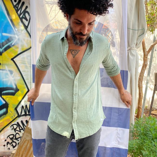 חולצת כפתורים יוניסקס פשתן-6372