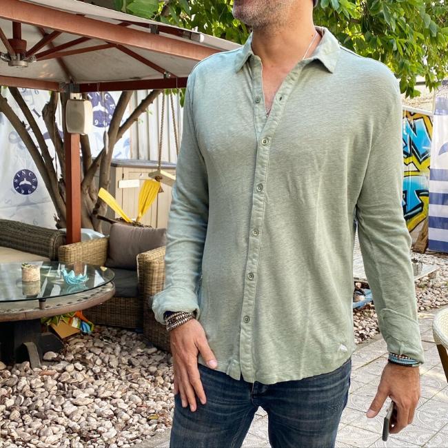 חולצת כפתורים יוניסקס פשתן-6187