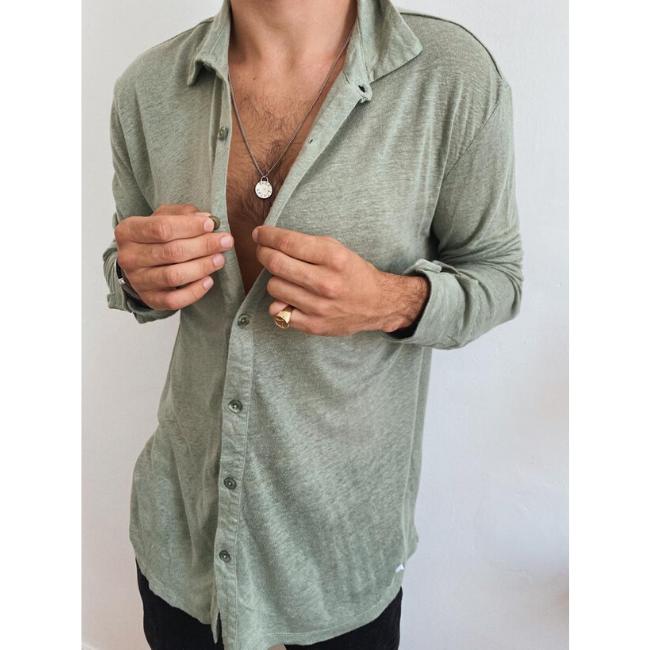 חולצת כפתורים יוניסקס פשתן-6440