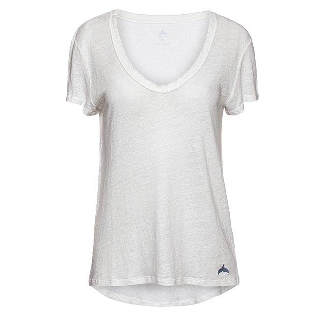 חולצת וי פשתן קצרה-6353