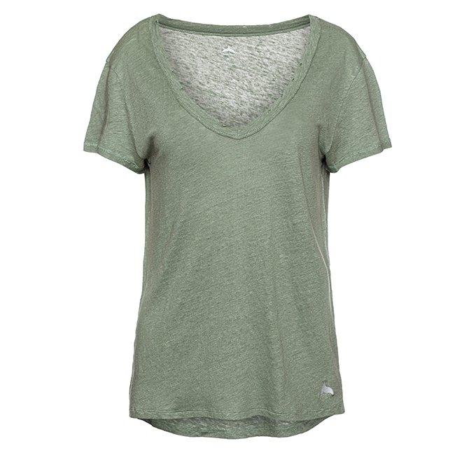 חולצת וי פשתן קצרה-6355