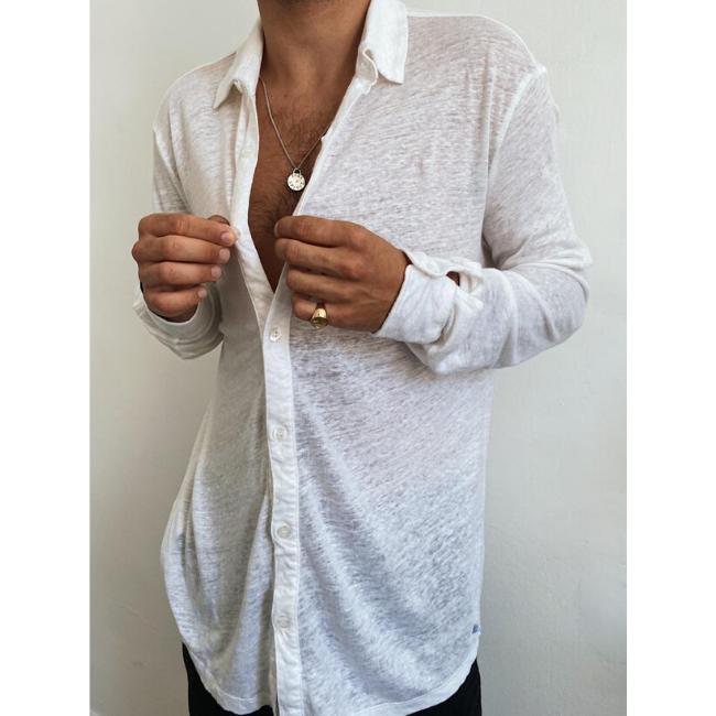 חולצת כפתורים יוניסקס פשתן-6392