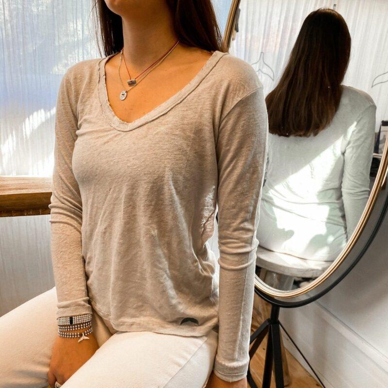 נשים וי פשתן אפור ארוך
